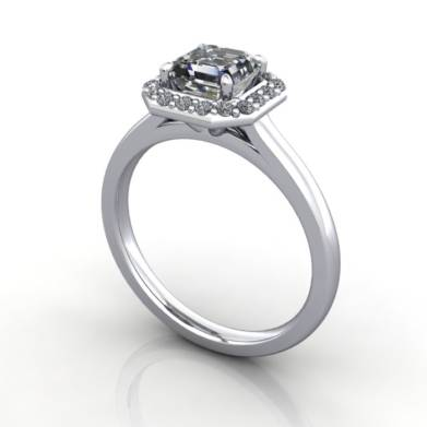 Halo Asscher cut Diamond Ring, Platinum, 3D Thumbnail