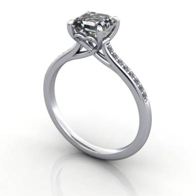 Engagement Ring, Platinum, Asscher cut diamond, RSA1, 3D, Thumbnail