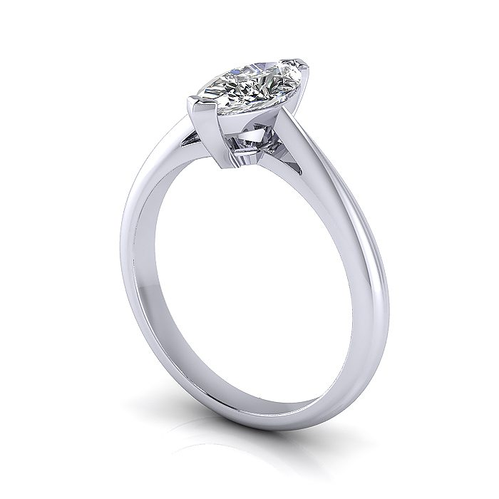 Marquise Engagement Ring, Platinum, RS5, 3D