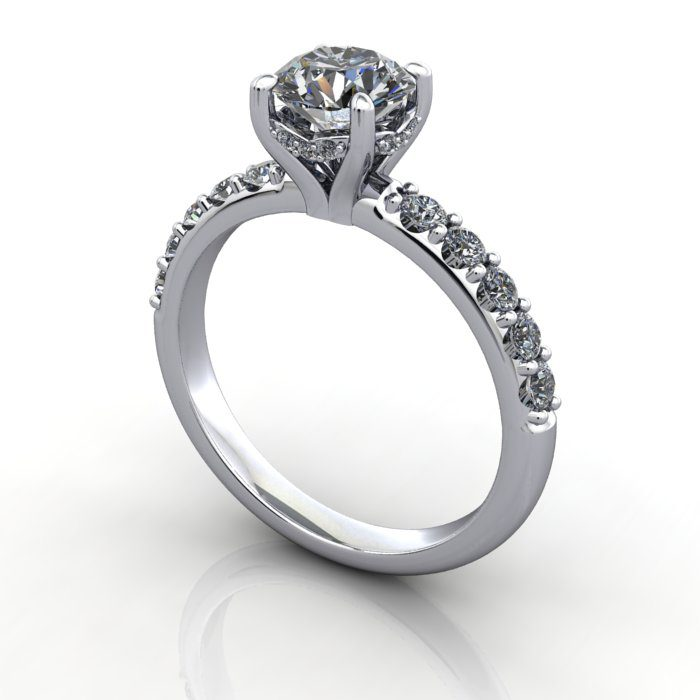 Diamond Engagement Ring with Accent Diamonds