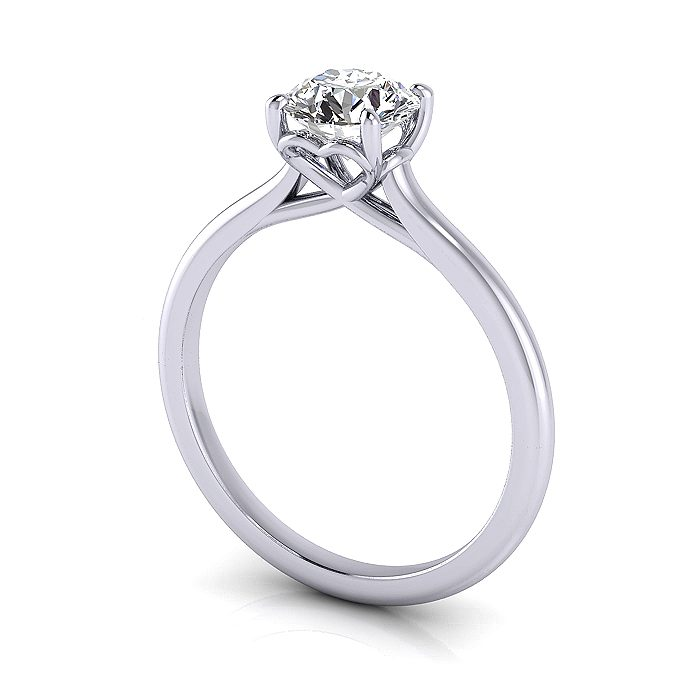Engagement Ring RS1 Round White 3D
