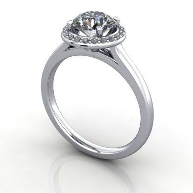 Halo Diamond Ring, Round, Platinum, RH1, 3D Thumbnail