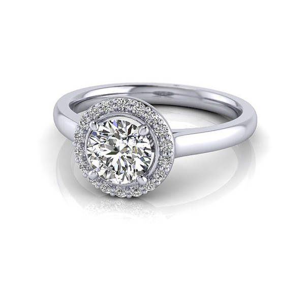 Halo Diamond Ring, Round, Platinum, RH1, LF