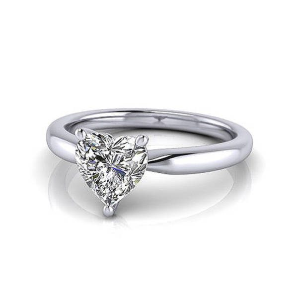 Heart Shape Engagement Ring, RS7, White Gold, LF
