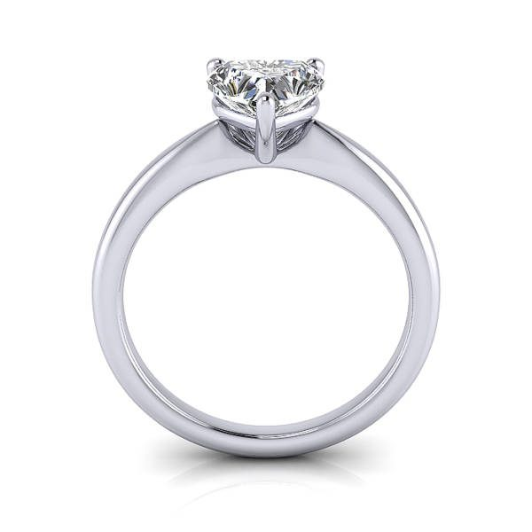 Heart Shape Engagement Ring, RS7, White Gold, TF