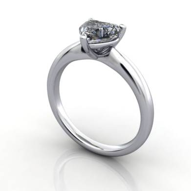 Heart shaped Engagement Ring, Platinum, RS7, 3D Thumbnail