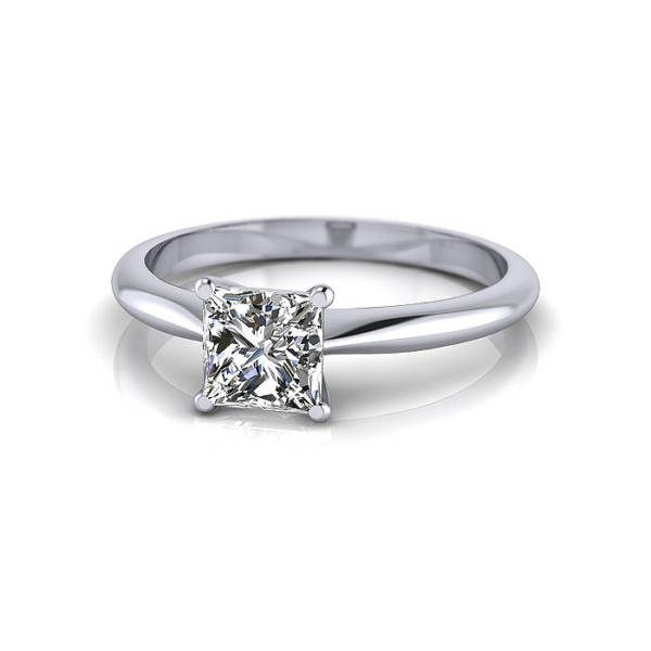 Engagement Ring, Princess Cut, RS14, White Gold, LF