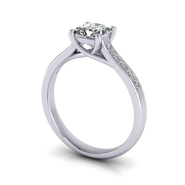 Engagement Ring, Princess Cut, RSA2, White Gold, 3D