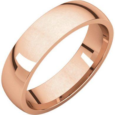 Gents Wedding Ring Rose Gold 5mm Ellipse 3D