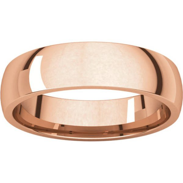 Gents Wedding Ring Rose Gold 5mm Ellipse LF