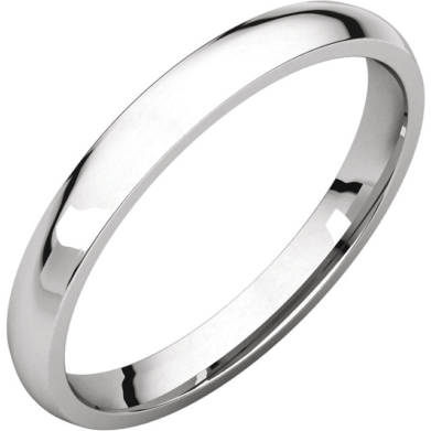 Gents Wedding Ring White Gold 2.5mm Ellipse