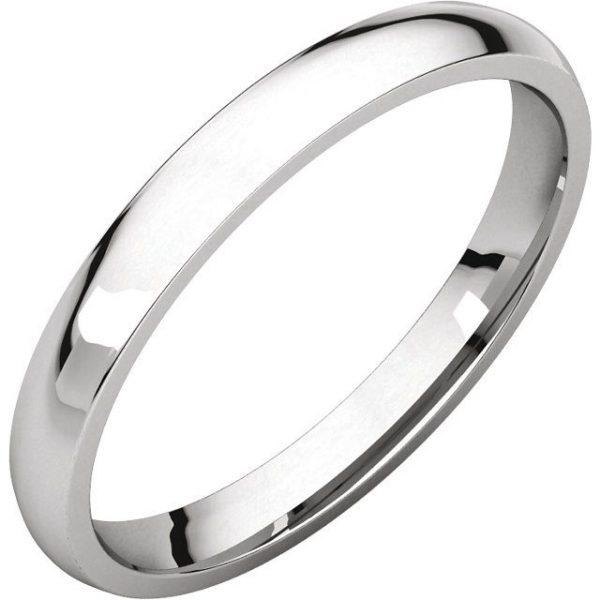 Gents Wedding Ring White Gold 2.5mm Ellipse