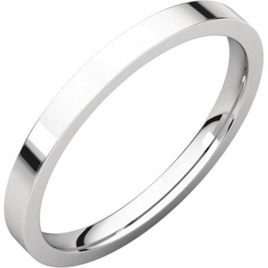 Gents Wedding Ring White Gold 2mm Flat 3D
