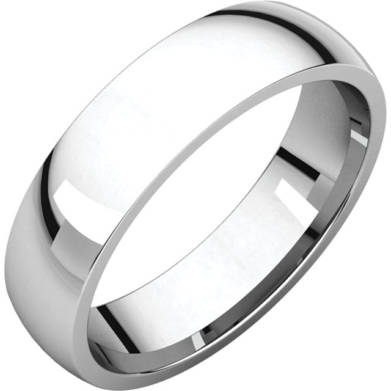 Gents Wedding Ring White Gold 5mm Ellipse