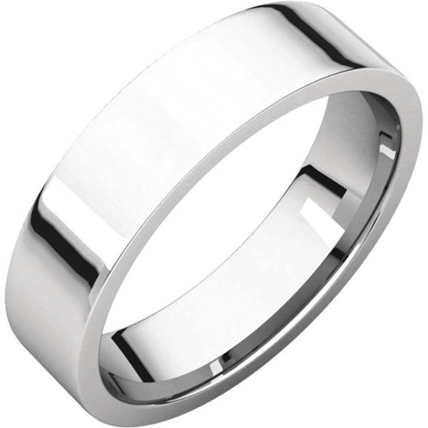 Gents Wedding Ring White Gold 5mm Flat 3D
