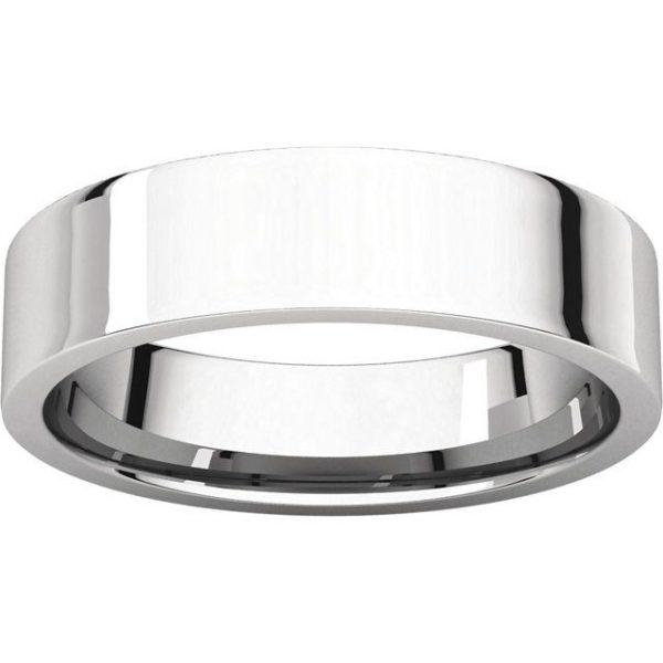 Gents Wedding Ring White Gold 5mm Flat LF