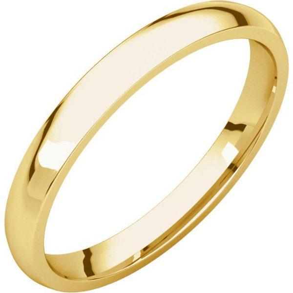 Gents Wedding Ring Yellow Gold 2.5mm Ellipse 3D