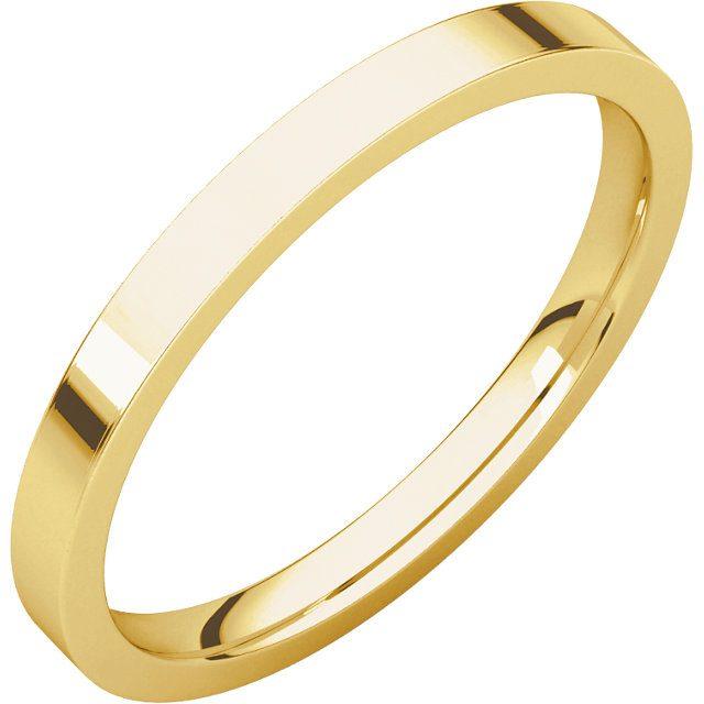 Gents Wedding Ring Yellow Gold 2mm Flat 3D