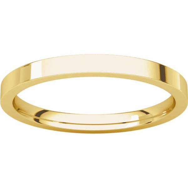 Gents Wedding Ring Yellow Gold 2mm Flat LF
