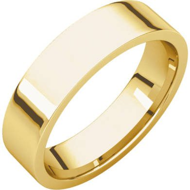 Gents Wedding Ring Yellow Gold 5mm Flat 3D