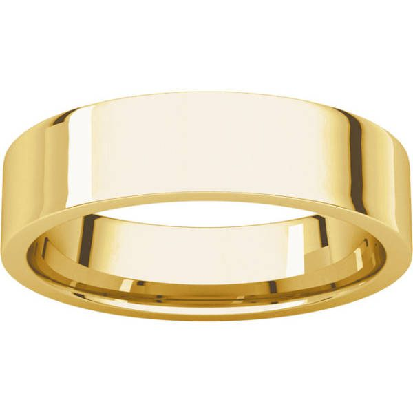 Gents Wedding Ring Yellow Gold 5mm Flat LF
