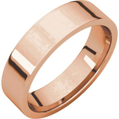Gents Wedding Rose Gold 5mm Flat 3D