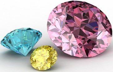 Blue, Yellow and Pink Diamonds