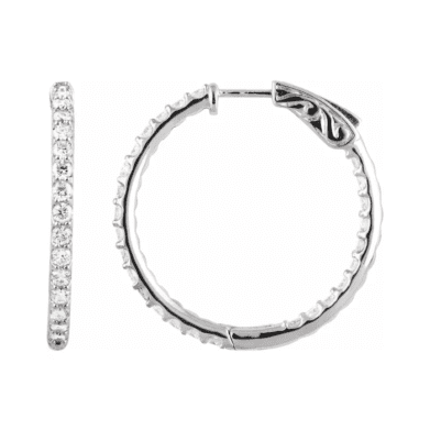 Earrings Hoops, PD650183, White Gold, 2ct