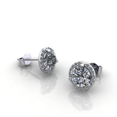 Martini Earrings Halo 1.25ct White Gold 3D