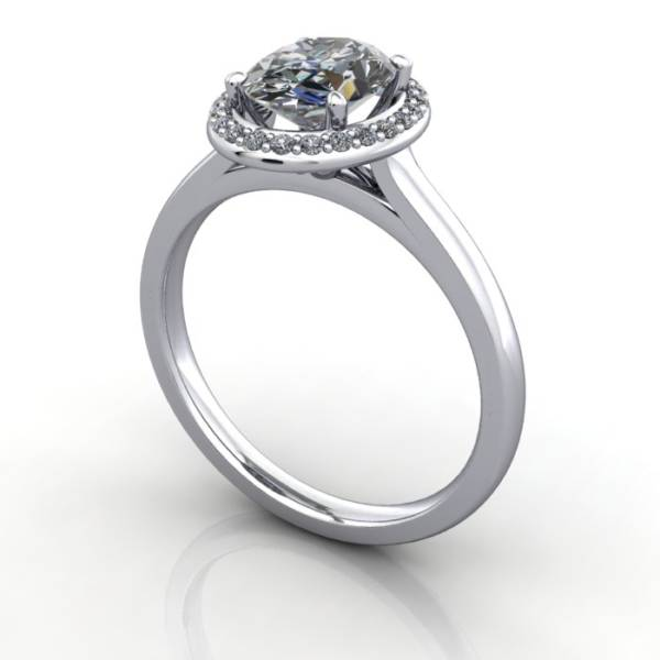 Oval halo ring design, Platinum, RH1,3d Thumbnail