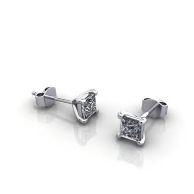 Princess Cut Earrings 0.34ct Platinum 3D