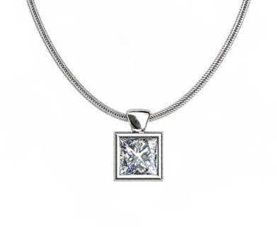White Gold Diamond Pendant Princess Bezel PPB01