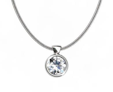 White Gold Diamond Pendant Round Bezel PRBP01
