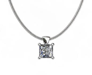 White Gold Pendant Princess Cut Diamond PPCP01