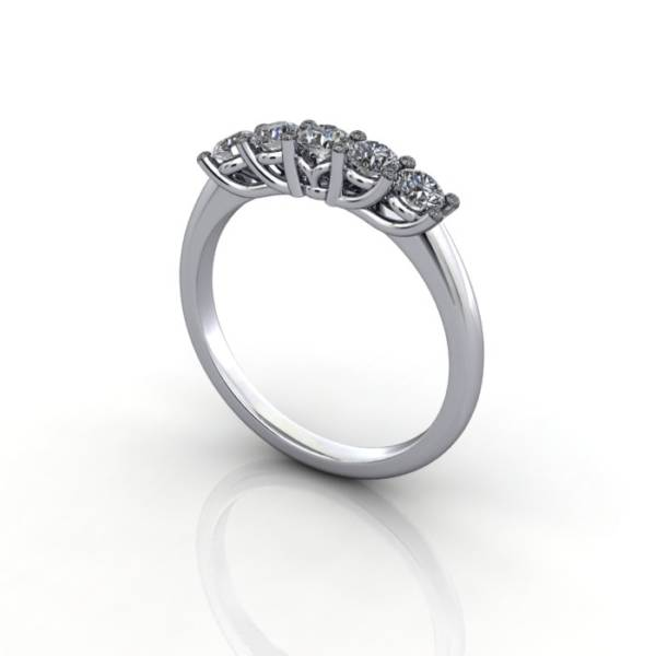 Anniversary Ring, RA1, White Gold, 3D