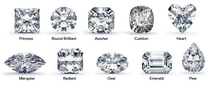 Diamond shapes, princess, round, asscher, cushion, heart, marquise