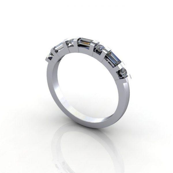 Anniversary Ring, RA3, White Gold, 3D