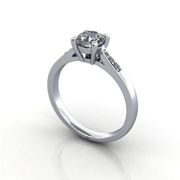 Diamond Ring, RSA17, White Gold, 3D