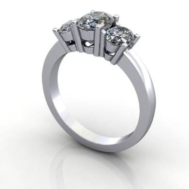 Multi stone Diamond Ring, PDM2, Platinum, 3D