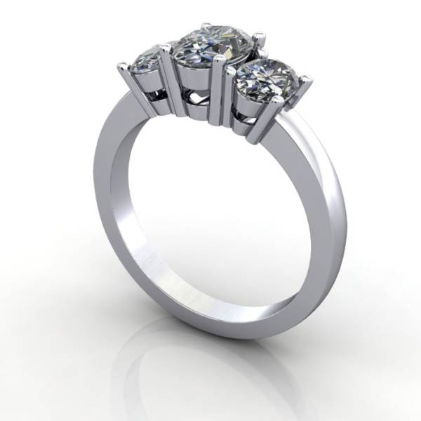 Multi stone Diamond Ring, PDM2, White Gold, 3D