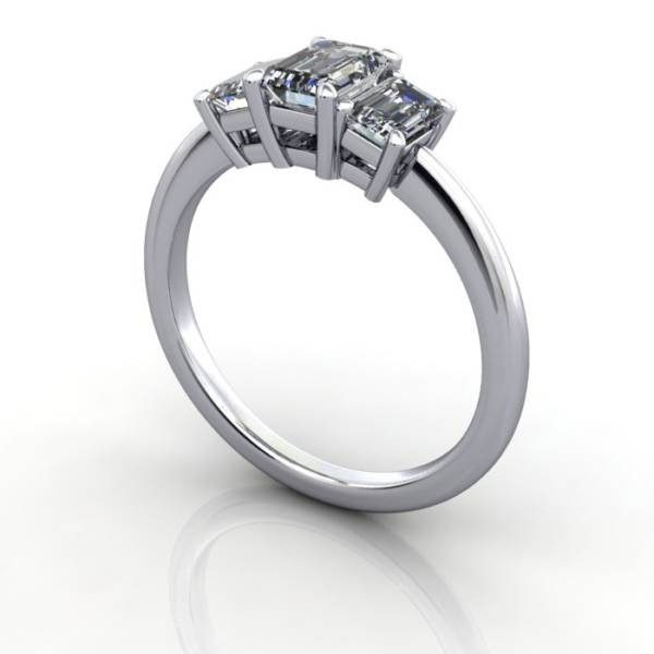 Multi stone Diamond Ring, PDM3, White Gold, 3D