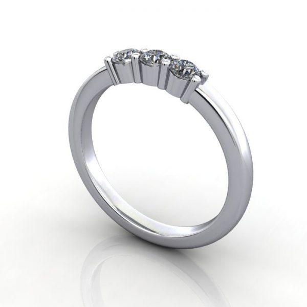 Multi stone Diamond Ring, PDM4, White Gold, 3D