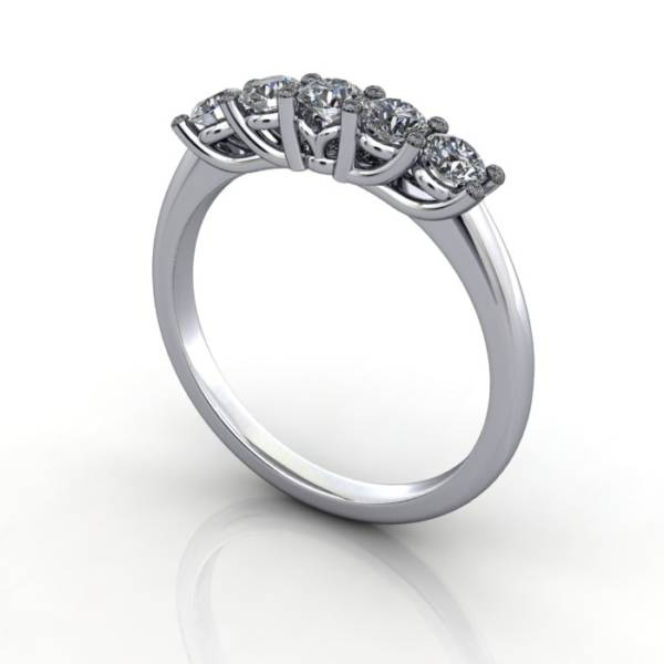 Multi stone Diamond Ring, PDM5, Platinum, 3D Thumbnail