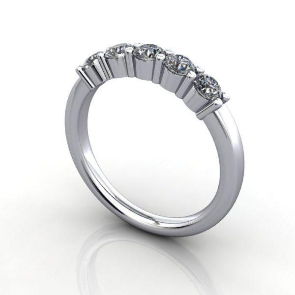 Multi stone Diamond Ring, PDM6, White Gold, 3D