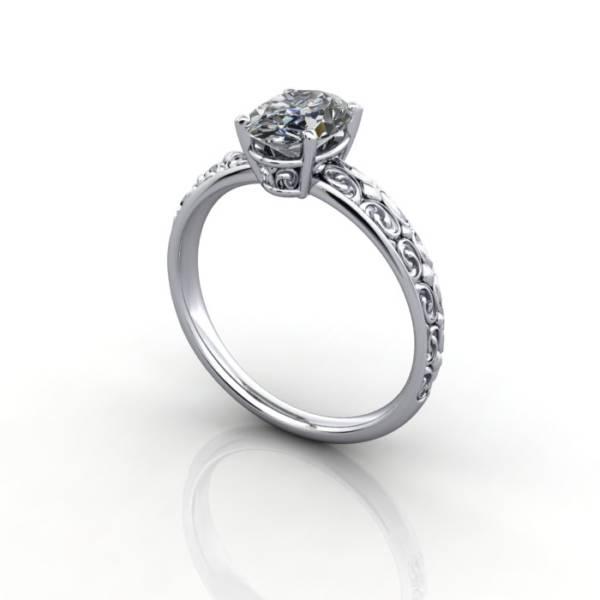 Vintage Ring, RV1, White Gold, 3D