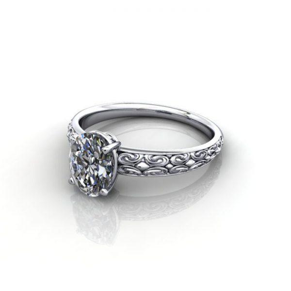 Vintage Ring, RV1, White Gold, LF