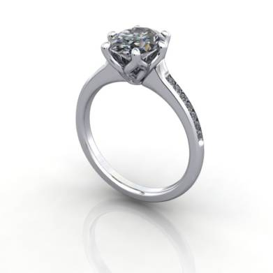 Engagement Ring, White Gold, Oval cut diamond, RSA3, 3D