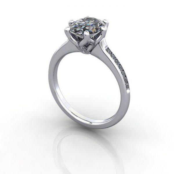 Engagement Ring, White Gold, Oval cut diamond, RSA3, 3D