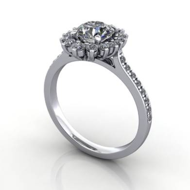 Halo Diamond Ring, Platinum, Round Brilliant, RH2, 3D