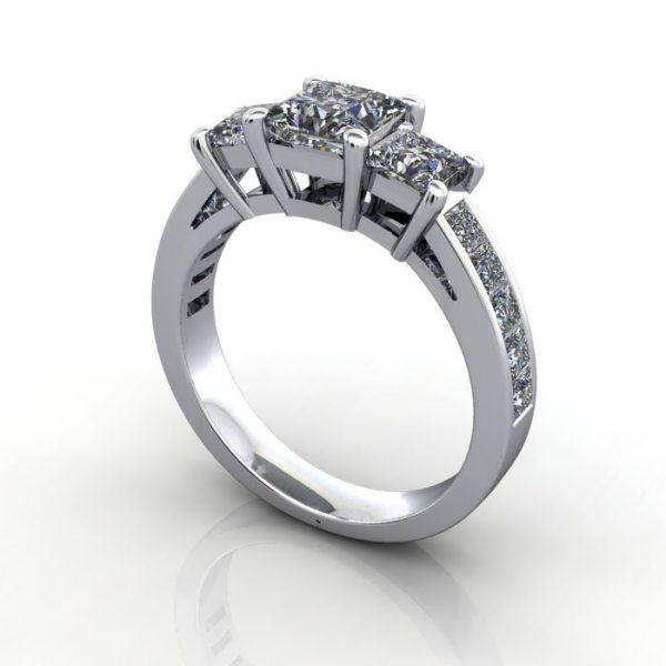 Trilogy Diamond Ring, RT6, White Gold, 3D